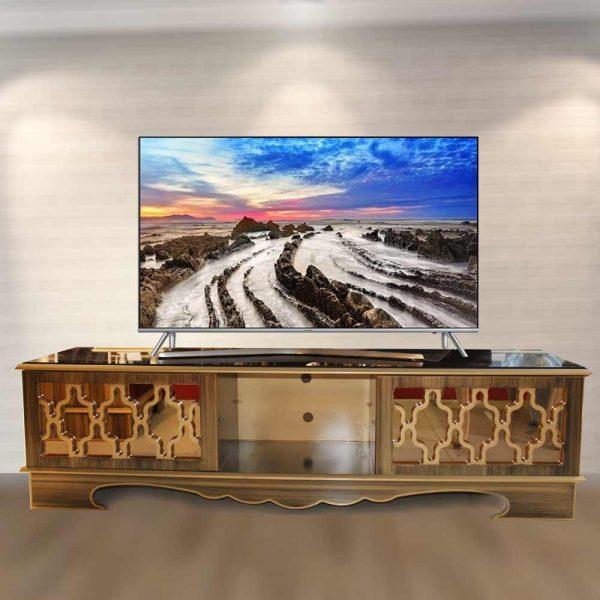 میز تلویزیون چوبی طلایی