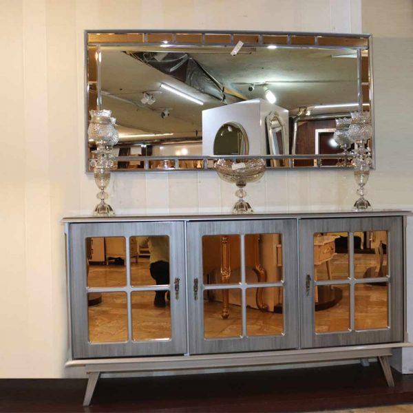 آینه کنسول چوبی شبنم رنگ طوسی