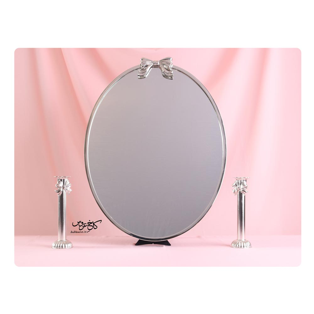 آینه و شمعدان بیضی طرح نقره