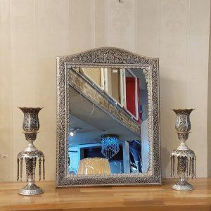 آینه و شمعدان لاله قلمزنی طرح نقره-آینه تاجدار قلمزنی