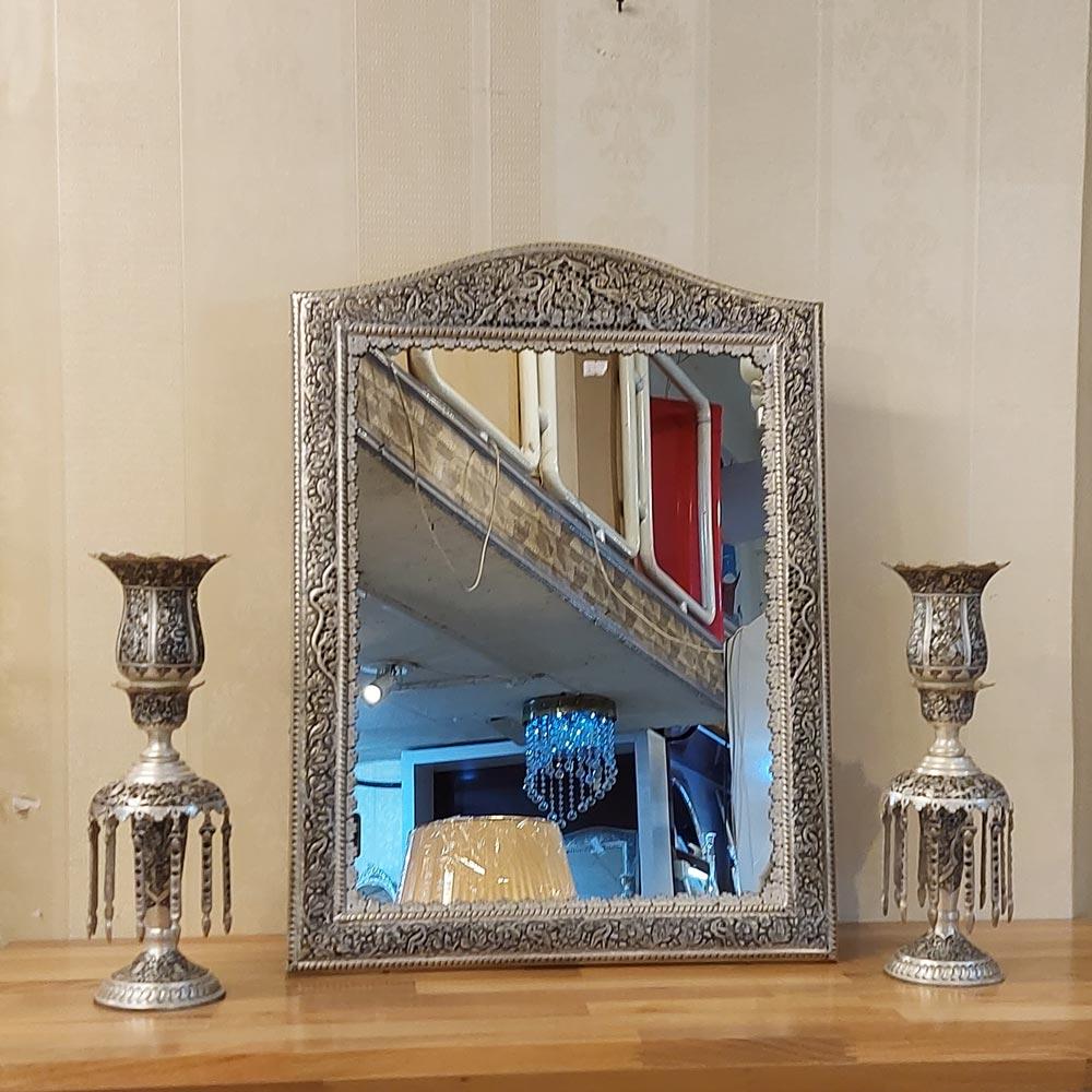آینه و شمعدان لاله قلمزنی طرح نقره عروس