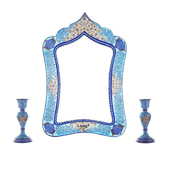 آینه شمعدان میناکاری طرح مسجدی