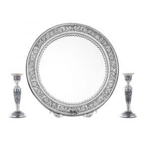 آینه شمعدان برنجی نقش شهباز قطر 56