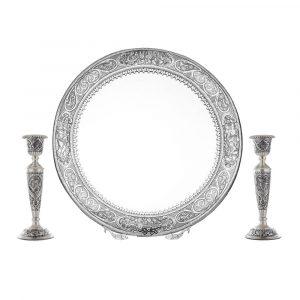 آینه شمعدان برنجی نقش مینیاتور شهباز قطر 50