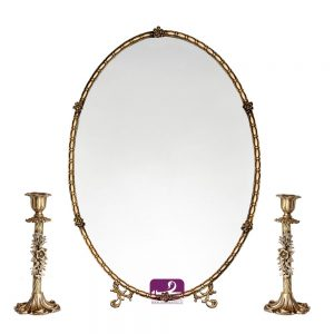 آینه و شمعدان برنجی ظریف عروس