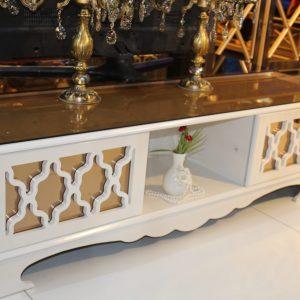 میز تلویزیون سفید چوبی