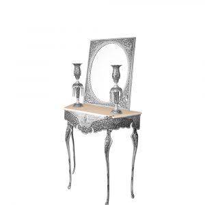 آینه شمعدان و میز قلمزنی نقره