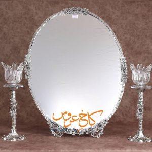 آینه شمعدان برنجی روکش نقره