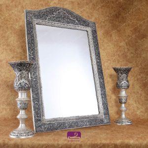 شمعدان و آینه قلمزنی