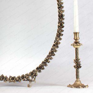 آینه شمعدان برنجی مدل آژند طرح نقره