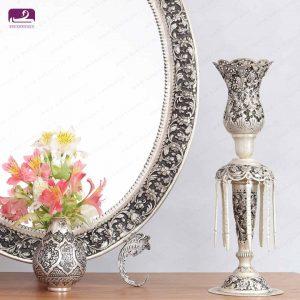 آینه شمعدان قلمزنی عروس با طراحی زیبا