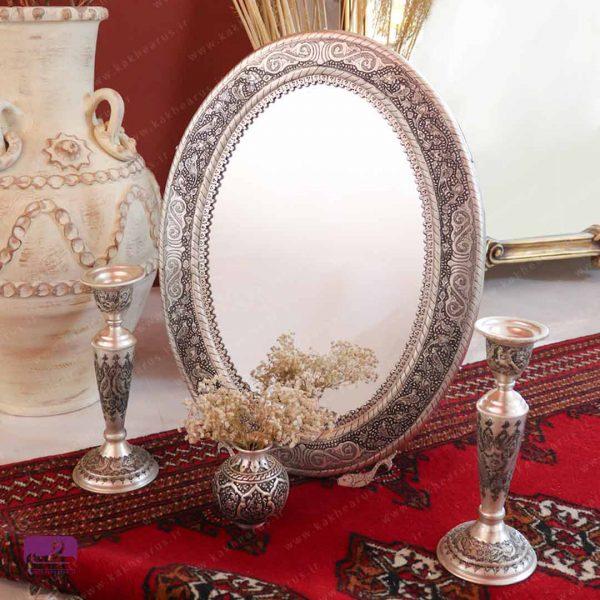 آینه شمعدان قلمزنی بیضی نقره