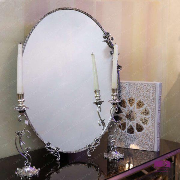 آینه شمعدون نقره ای