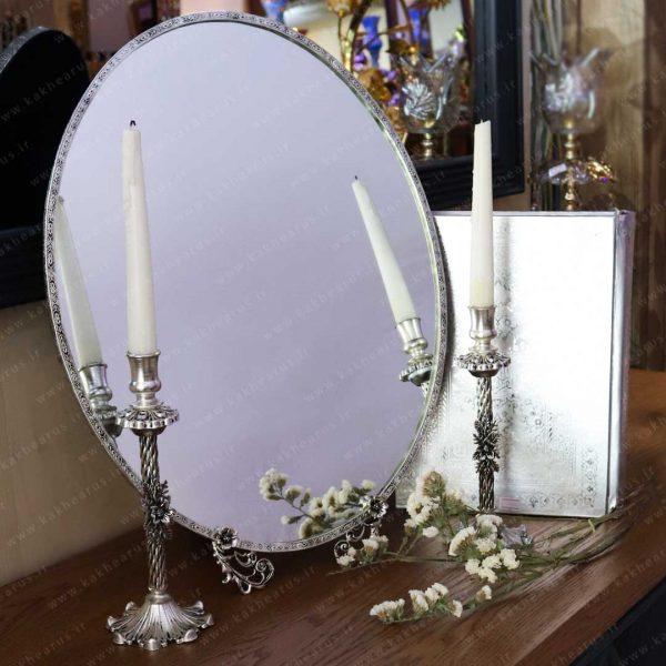 آینه شمعدان برنجی طرح نقره