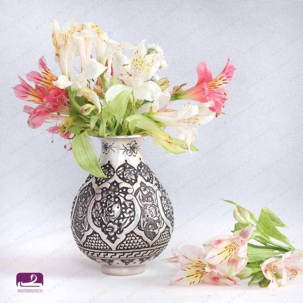 گلدان قلمزنی مدل گلابی